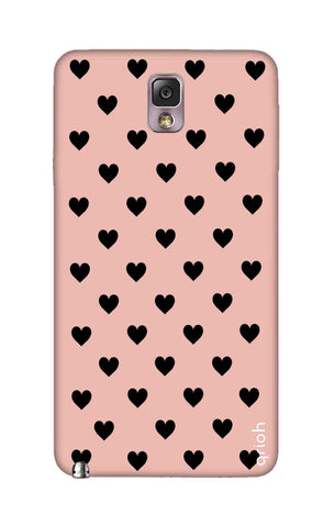Black Hearts On Pink Samsung Note 3 Cases & Covers Online
