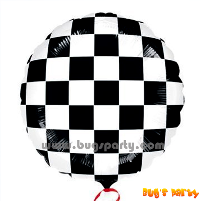 black and white chequered flag helium balloon