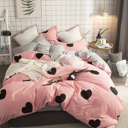 Bedding - 100% Cotton Hearts on Pink -  Bedding set (B-133)