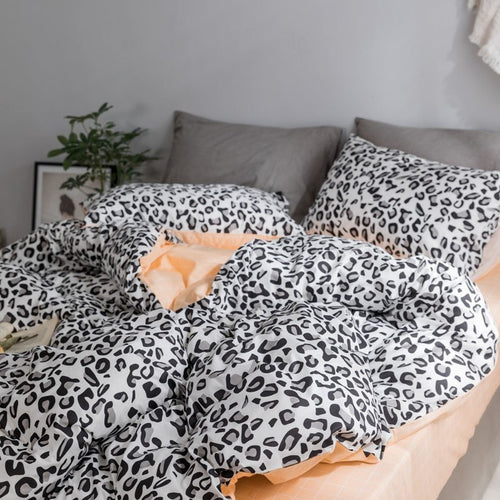 Leopard prints  100% Cotton  Bedding set- Peach (B-142)