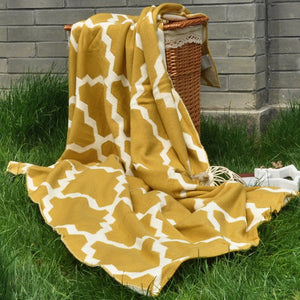 Mustard Yellow knitted Geometric Pattern throw blanket  (B-144)