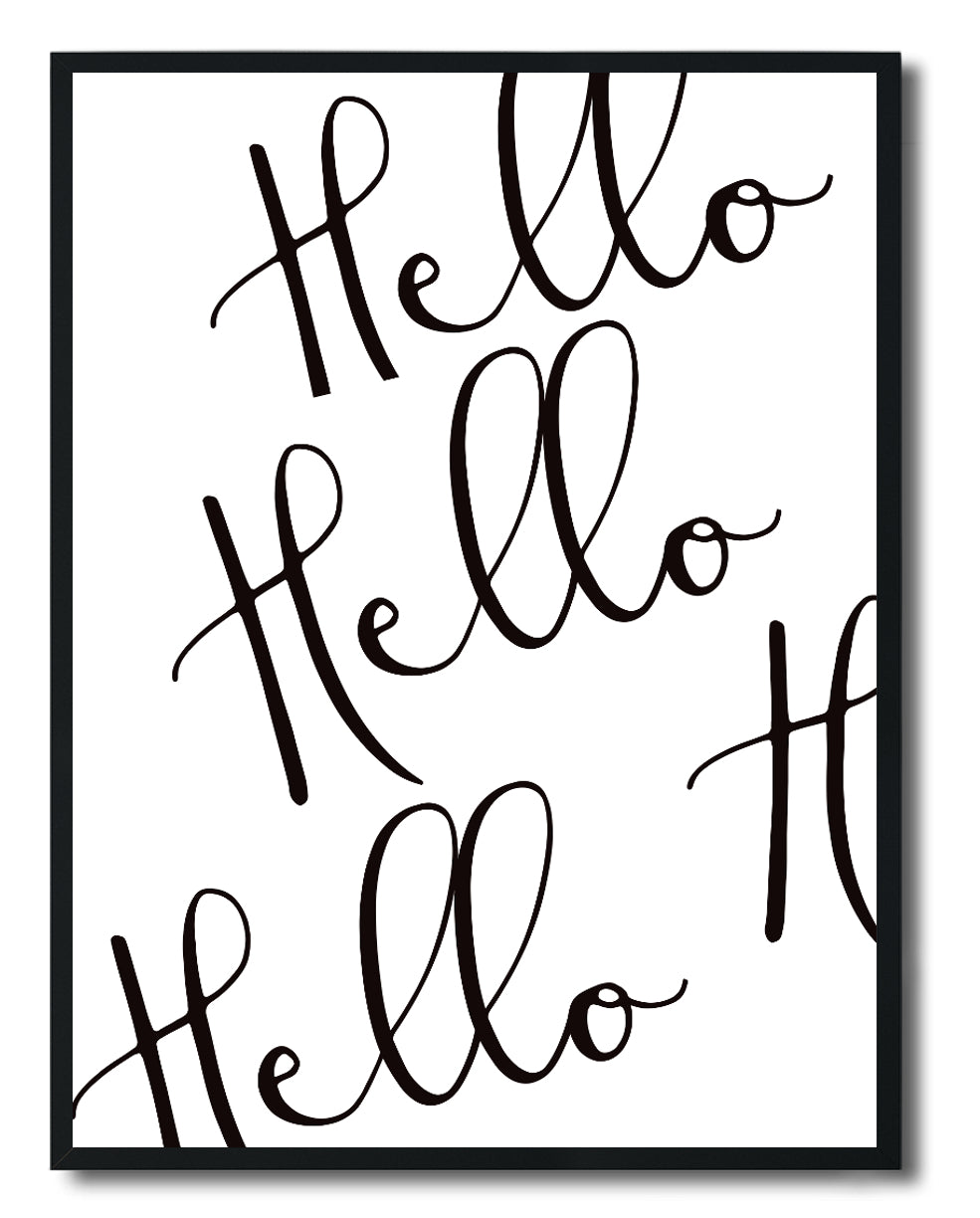 Wall Art - Hellos Black on White Typography Print - Framed / unframed art print (A-779)
