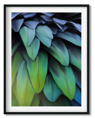 Wall Art -  Colorful Feathers Leaves - Framed / unframed art print (A-470)