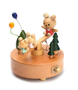 Wooden Bears on Seesaw Musical Box (D-106)
