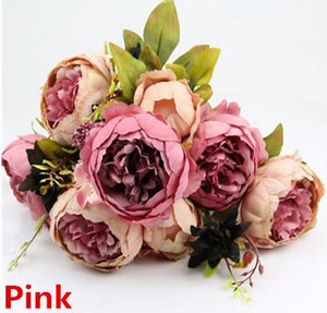 Decor - Peony  Bouquet Silk Artificial Flowers - Pink  (D-110)