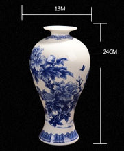 Decor - Blue and White Porcelain Look China Vase  - (D-179)