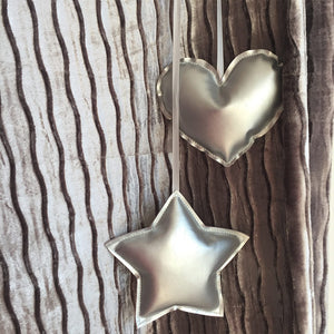 Silver Heart & Star Shape Soft Hanging Decorative Ornament set (D-48)