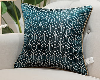 Luxury Jacquard Detailed Cushion Cover - Pine Green (DC-203B)