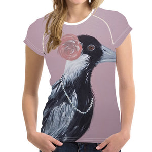 Short sleeve Woman's T-shirt  2 sides print-Cheeky Magpie (G-T-52)
