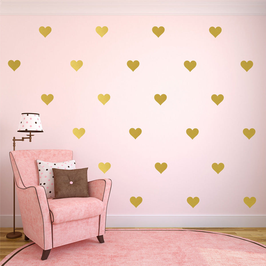 Wall Stickers Decor - 42pcs /32 pcs Removable Golden Hearts Wall Decals (W-6)