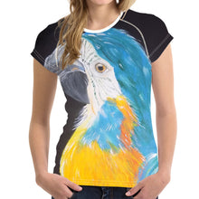 Short sleeve Woman's T-shirt  2 sides print-Cheeky Macaw  (G-T-55)