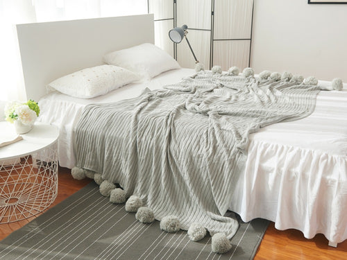High Quality cotton throw pompom blanket Grey (B-6)