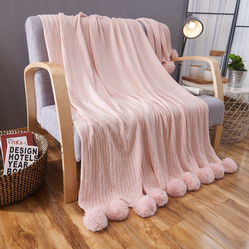 High Quality cotton throw pompom blanket - Pink (B-22)