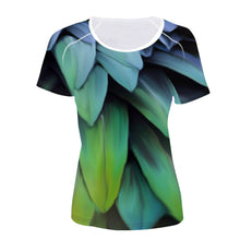 Short sleeve Woman's T-shirt  2 sides print-Colorful feather leaves Pattern (G-T-05)