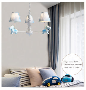 Lighting - Kids Blue Horse Chandelier (L-14)