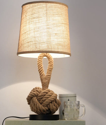 Lighting - Woven Flax & Rope table lamp (L-56)