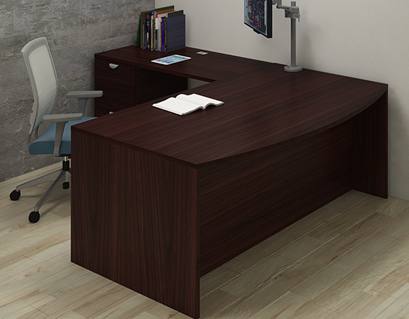 PACKAGE PRICE! Momentum L-Shape Bow Top Desk