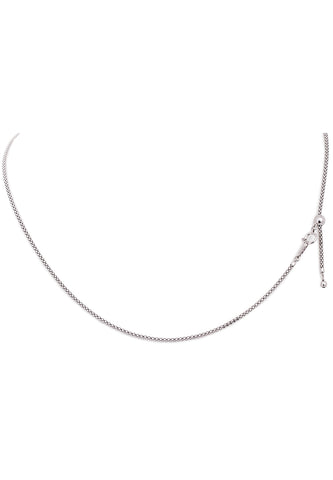 18K White Gold Thick Adjustable (1.60 MM) Popcorn Chain