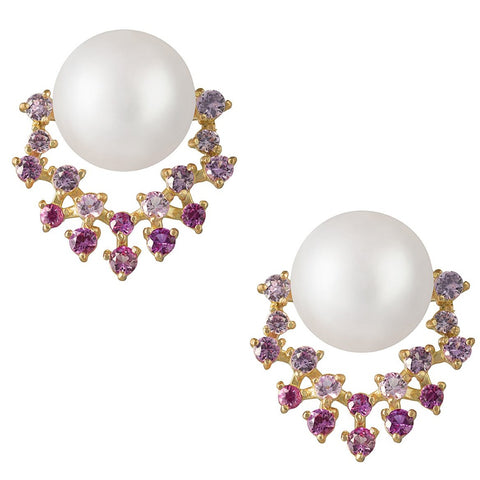 Pink Diamond and Akoya Pearl Earrings