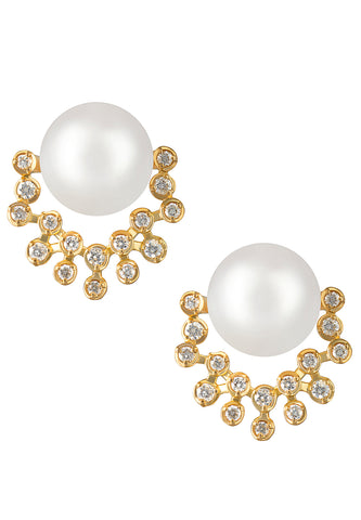 Akoya Pearl and Diamond Earrings