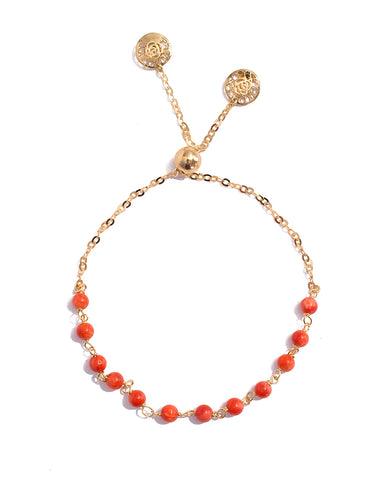 Adjustable Yellow Gold Coral Paste Bead Bracelet