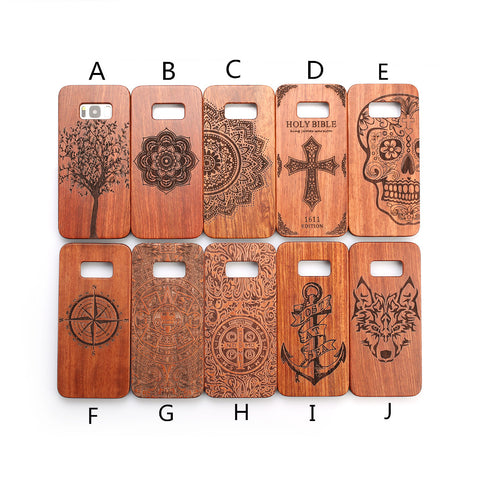 All Wood carving case for Samsung Galaxy S6, S7 , S6 edge , S8 , S8 Plus