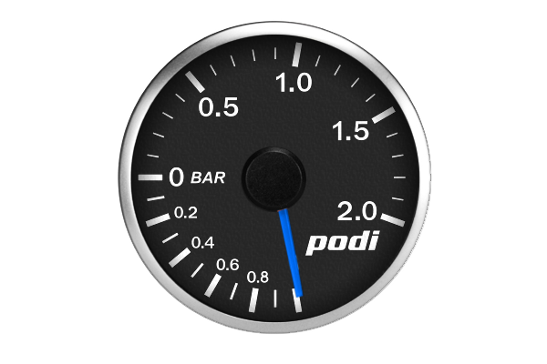 "Podi Electronic Stepper Motor Boost Gauge (Metric units, ""True Blue"" Golf R needle)"