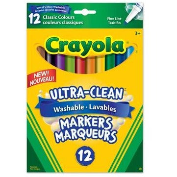 Ultra-Clean Washable Fine Line Markers, 12/pk