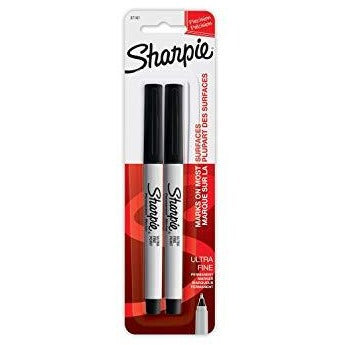 Sharpie Ultra Fine Black Markers, 2/pk