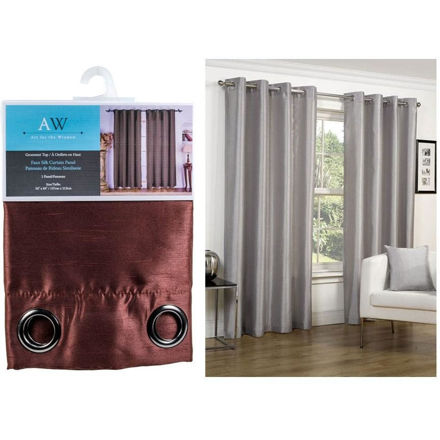 Window Curtain Faux Silk with 8 Grommets - Chocolate