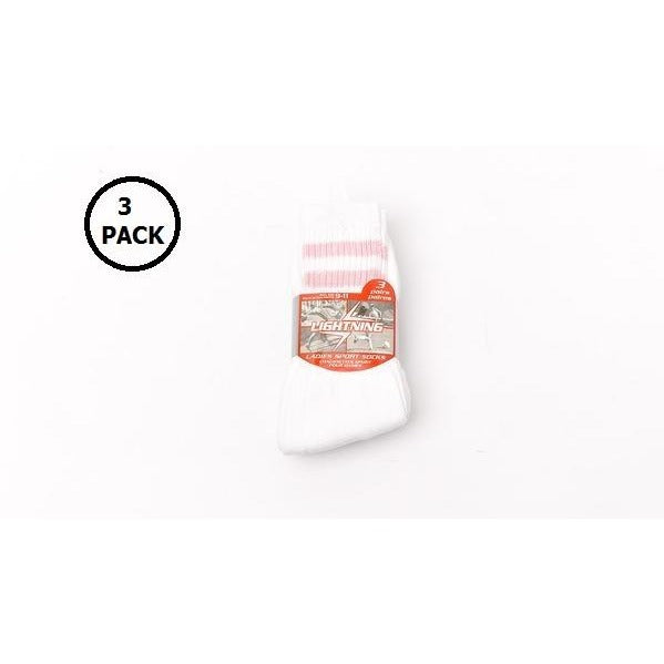 3Pk Ladies 9-11 Sport Socks, White with Strips