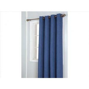 Window Curtain Faux Suede with 8 Grommets - Navy Blue
