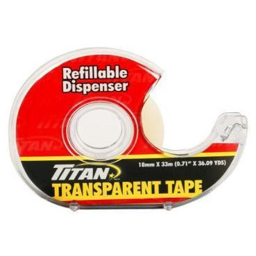 Titan Transparent Tape with Refillable Dispenser 18mm x 33m
