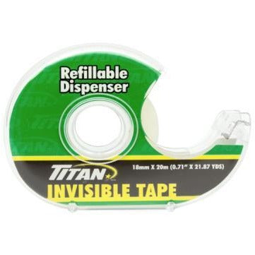 Titan Invisible Tape with Refillable Dispenser 18mm x 20m