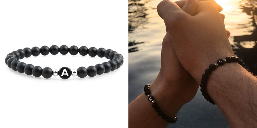 Beaded initial distance bracelets for couples