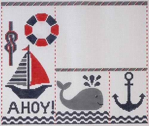 Ahoy Birth Announcement Painted Canvas Alice Peterson