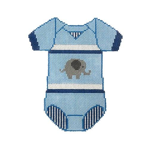 Baby Onesie - Blue with Elephant Painted Canvas The Meredith Collection