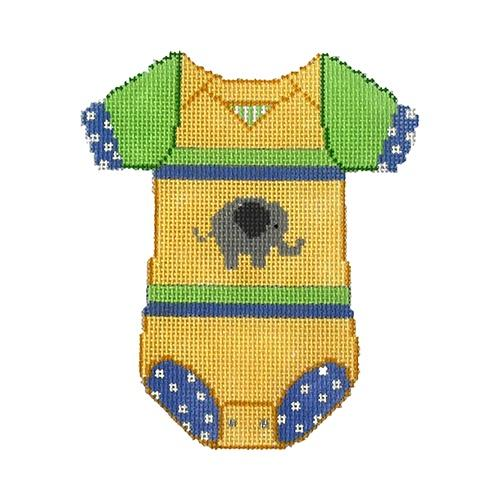 Baby Onesie - Yellow with Elephant Painted Canvas The Meredith Collection