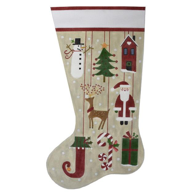 Folk Ornaments Stocking Painted Canvas Melissa Shirley Designs