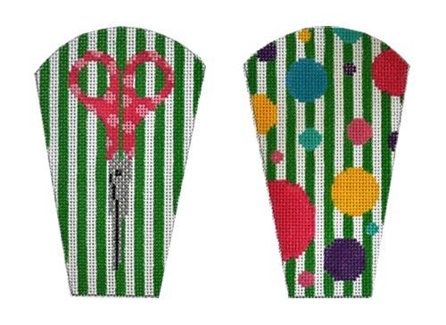 Green Stripes and Polka Dots Scissor Case Painted Canvas The Meredith Collection