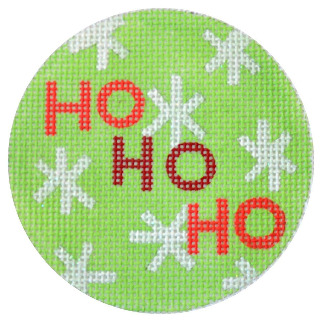 Ho Ho Ho Christmas Circle Green Painted Canvas Kirk & Bradley