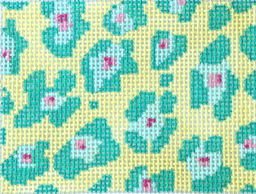 Leopard Spots - Turquoise & Fuchsia on Light Lime Painted Canvas Kate Dickerson Needlepoint Collections
