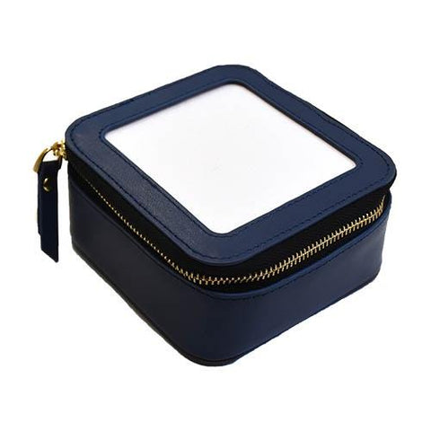 Planet Earth Leather Jewelry Case Navy Leather Goods Planet Earth Leather