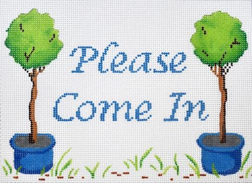 Please Come In on White Painted Canvas Kate Dickerson Needlepoint Collections