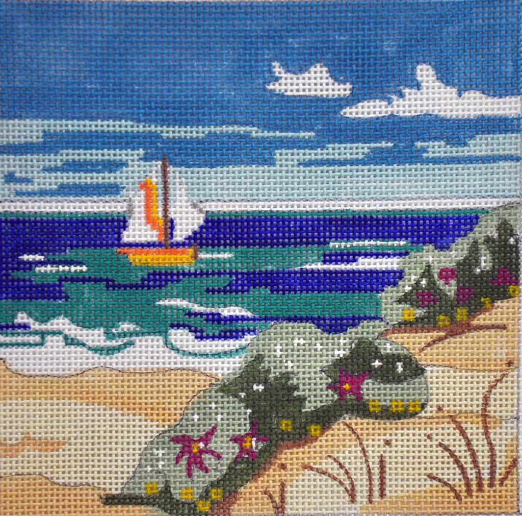 Sailboat at the Beach Painted Canvas Julie Mar Needlepoint Designs