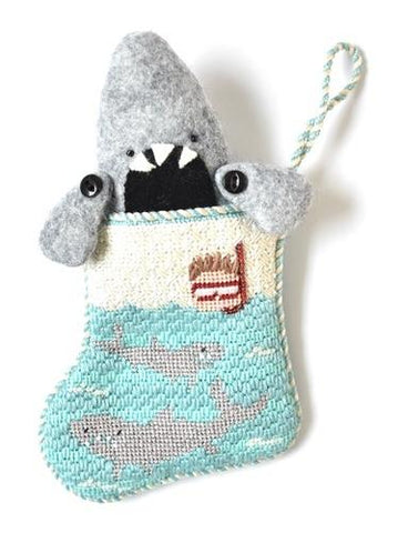 Sharks Mini-Sock with Shark Insert Painted Canvas Kathy Schenkel Designs