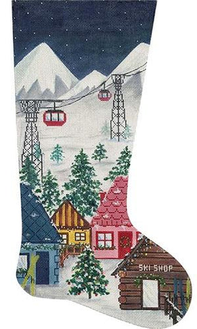 Ski Village Stocking Painted Canvas Alice Peterson