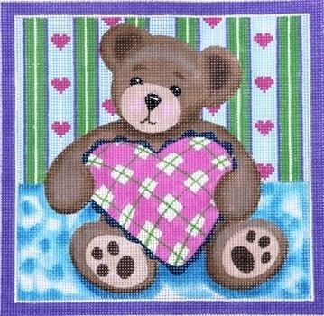 Teddy with Pillow Painted Canvas Julie Mar Needlepoint Designs