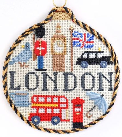 Travel Round - London with Stitch Guide Painted Canvas Needlepoint.Com