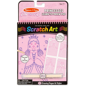 Melissa & Doug On-The-Go Scratch Art Learn-To-Draw Pad Princesses